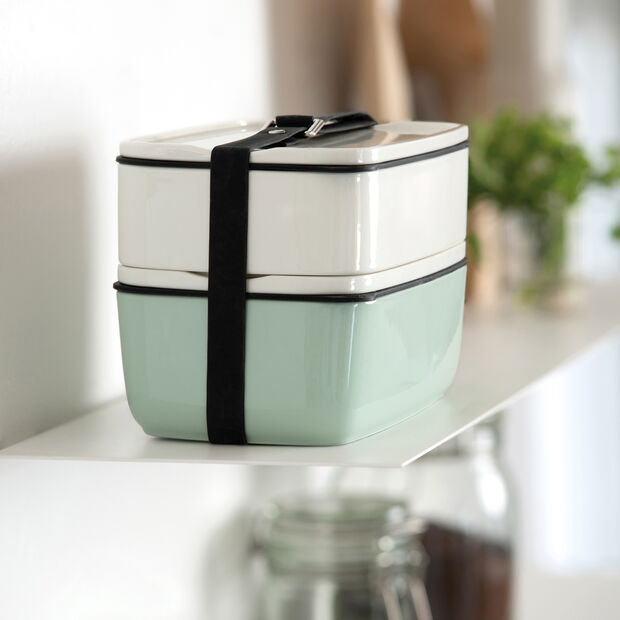 ToGo&ToStay lunch box set, 2 pieces, rectangular, white/mint green, , large