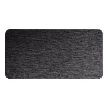 Manufacture Rock rectangular serving plate, black/grey, 35 x 18 x 1 cm