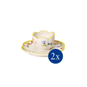 Spring Awakening egg cup with saucer, 2 pieces