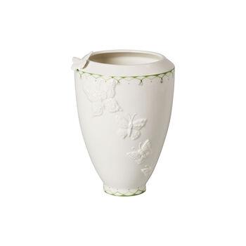 Colourful Spring tall vase, white/green