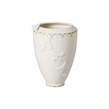 Colourful Spring tall vase, white/green