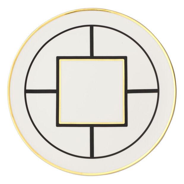 MetroChic underplate/cake plate, 33 cm diameter, white/black/gold, , large