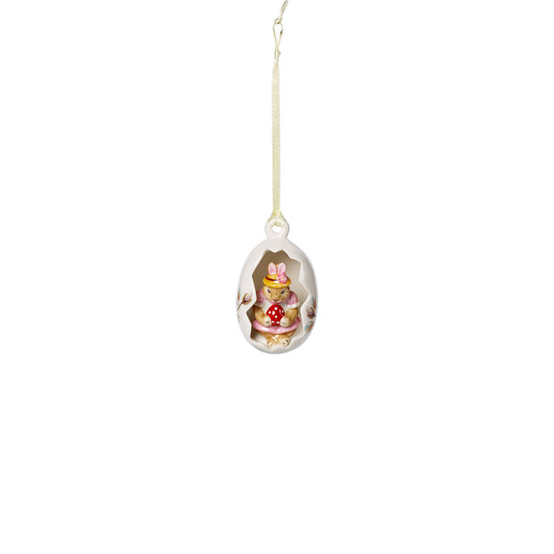 Bunny Tales ornament egg Anna, pink flowers, 7 cm, , large