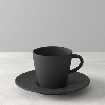 Manufacture Rock coffee cup and saucer, black/grey, 2 pieces
