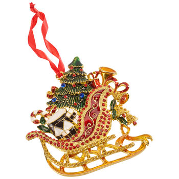 Winter Collage Accessories metal hanging ornament sleigh, multicoloured, 12 cm