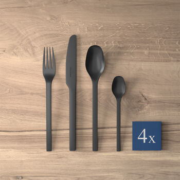 Manufacture Rock table cutlery, for 4 people, 16 pieces, Black
