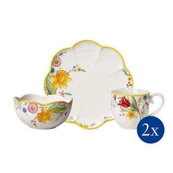 Spring Awakening breakfast set, Flowers, 6 pieces, for 2 people