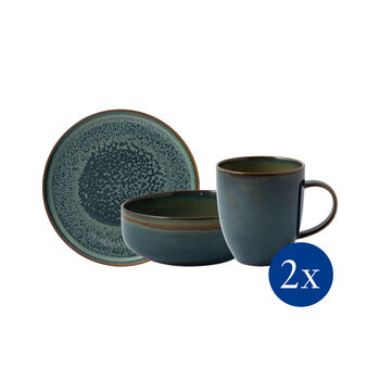 Crafted Breeze breakfast set, grey-blue, 6 pieces