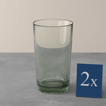 like.by Villeroy & Boch it's my match long drink glass set mineral, green, 8 x 14 cm, 2 pieces