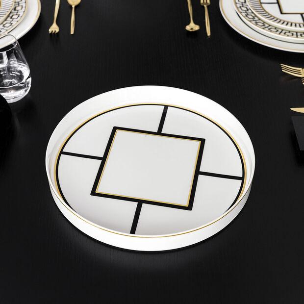 MetroChic serving/decorative bowl, 33 cm diameter, 4 cm deep, white/black/gold, , large