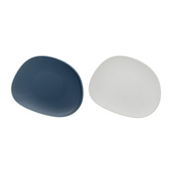 like. by Villeroy & Boch Organic breakfast plate, 2 pieces, turquoise/white