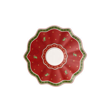Toy's Delight red coffee mug saucer