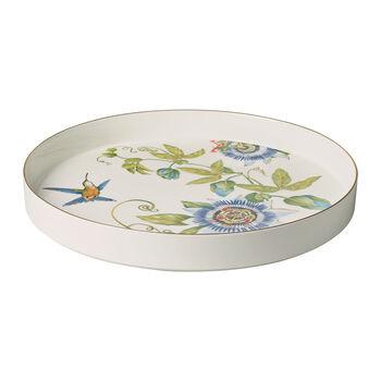 Amazonia serving/decorative bowl, 33 cm diameter, 4 cm deep, white/multi-coloured