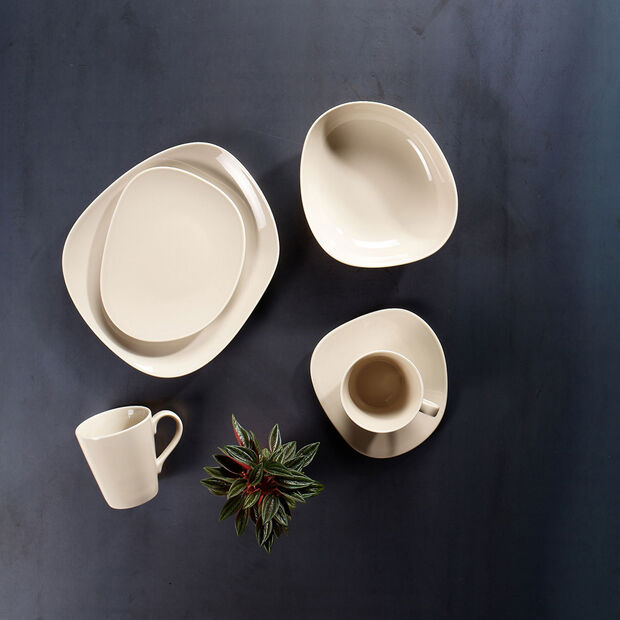 Organic Sand breakfast plate 21 x 17 x 2cm, , large