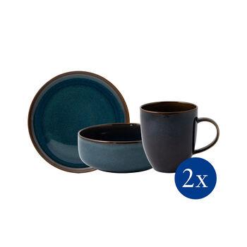 Crafted Denim breakfast set, blue, 6 pieces