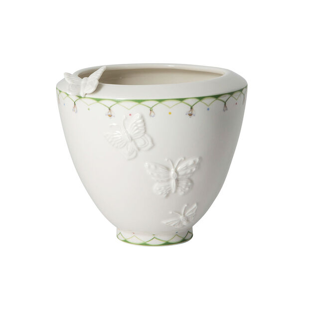 Colourful Spring wide vase, white/green, , large