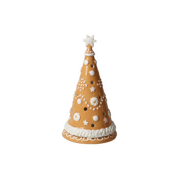 Winter Bakery Decoration large gingerbread tree, brown/white, 11 x 11 x 21 cm