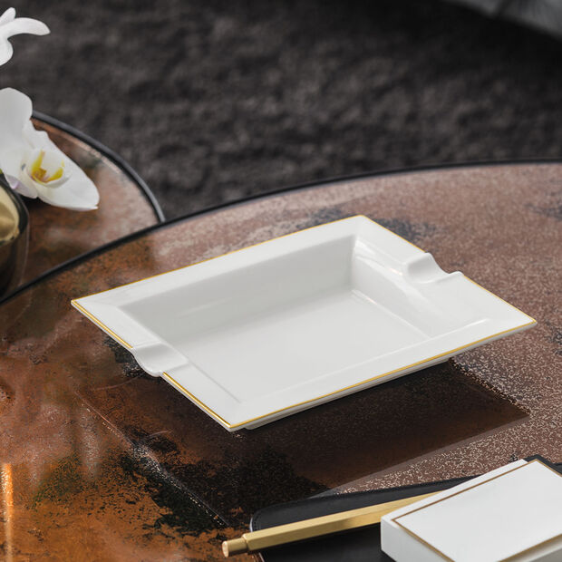 Anmut Gold ashtray, 17 x 21 cm, white/gold, , large