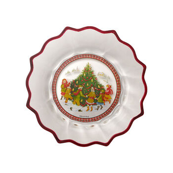 Christmas Glass Accessories bowl dancing around the tree, clear/multicoloured, 25 cm, 850 ml