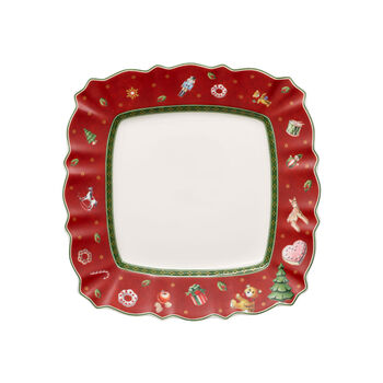 Toy's Delight square breakfast plate, red/multicoloured, 24 x 24 cm