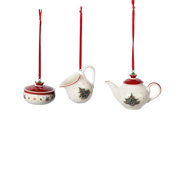 Toy's Delight Decoration ornaments coffee set, white/red, 3 pieces, 6.3 cm, , large