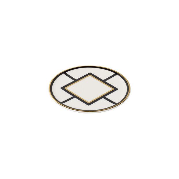 MetroChic coaster, 11 cm diameter, white/black/gold, , large