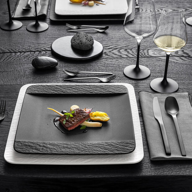 Manufacture Rock square dinner plate, black/grey, 28 x 28 x 2 cm, , large