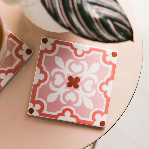 Table Accessories Coaster Set 2pcs. Rose Caro 11x11cm, , large