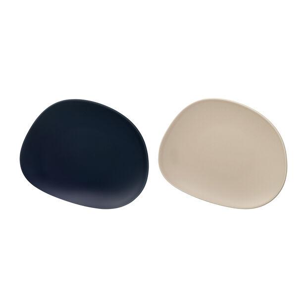 Organic breakfast plate, 2 pieces, blue/beige, , large