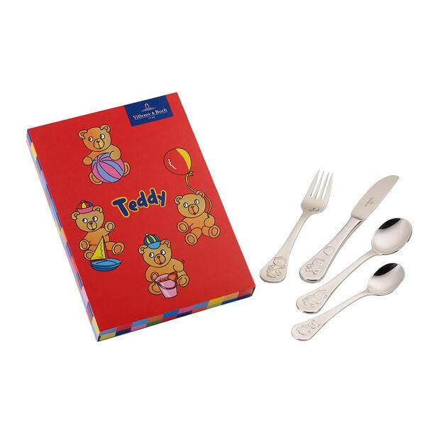 Teddy children's cutlery 4 pieces 21.5 x 15 x 2.5 cm, , large