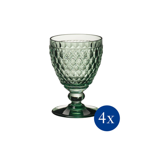 Boston Coloured white wine glass, 4 pieces, green, , large