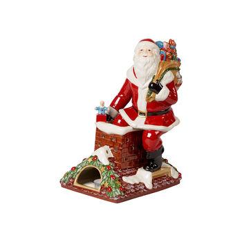 Christmas Toy's Memory Santa on roof, multicoloured, 23.5 x 17 x 32 cm