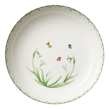 Colourful Spring large salad bowl, 5.2 l, white/green