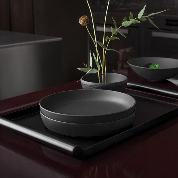 Iconic flat bowl, black, 24 x 4 cm, 1.1 l, , large