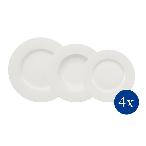 Wonderful World White plate set 12 pieces, , large