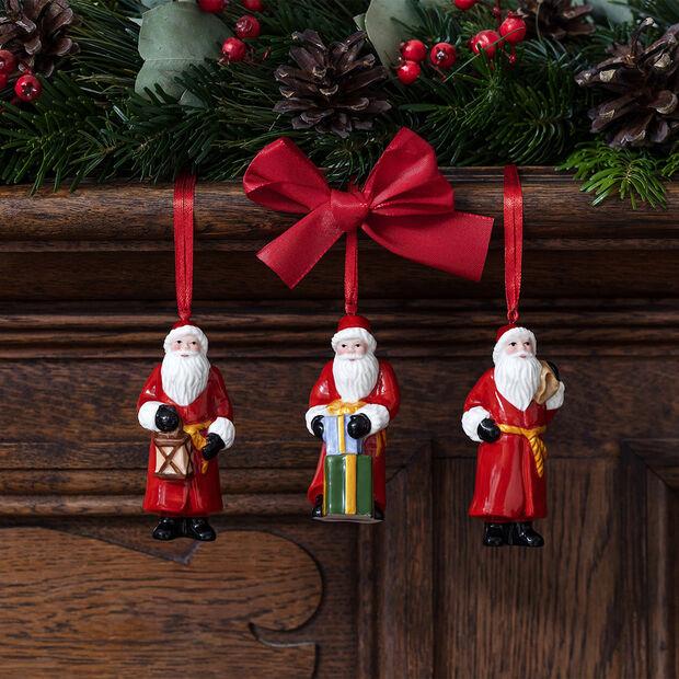 Nostalgic Ornaments ornament set Santa Claus, 8 x 3.5 cm, 3 pieces, , large