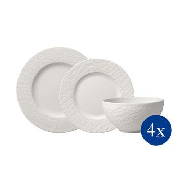 Manufacture Rock blanc Plate set, 12 pcs, 4 people