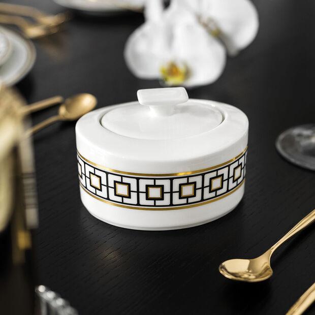 MetroChic sugar bowl, 330 ml, white/black/gold, , large