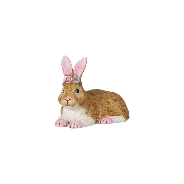 Easter Bunnies small lying bunny, brown/rose, , large