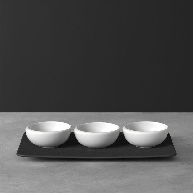 NewMoon dip bowl set, 4 pieces, white/slate, , large