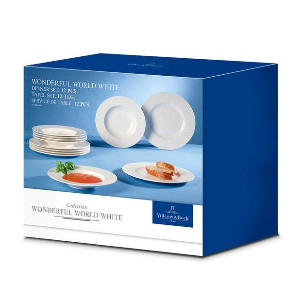 Wonderful World White dinner set 12 pieces, , large