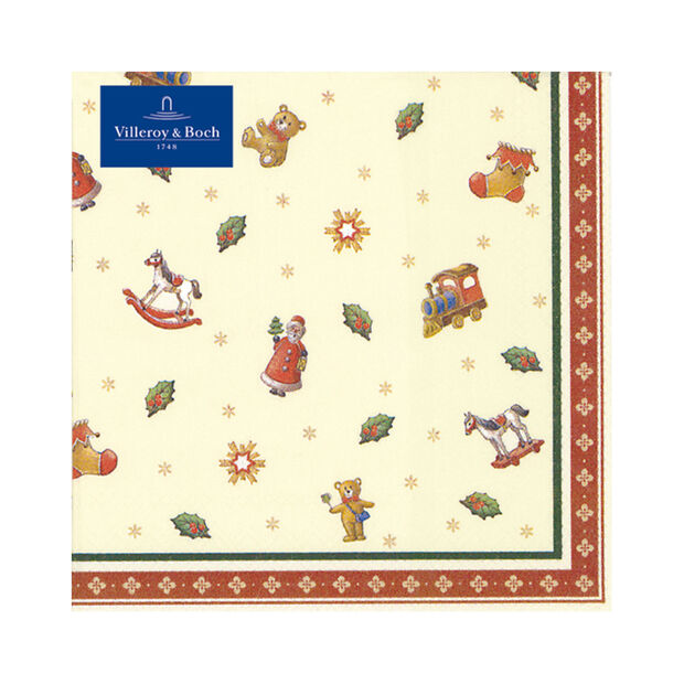 Winter Specials Toys lunch napkin scattered motifs, green/red/gold, 20 pieces, 33 x 33 cm, , large