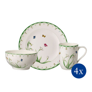 Colourful Spring breakfast set, 12 pieces, for 4 people