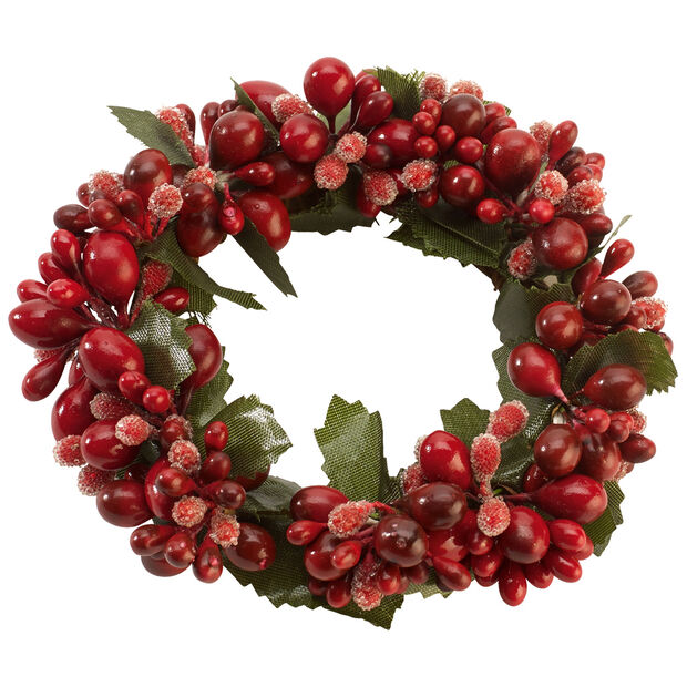 Winter Collage Accessoires Candle ring red berries 10cm, , large
