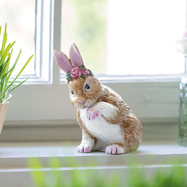 Easter Bunnies Bunny small, preening with flower wreath 9x5,5x10cm, , large