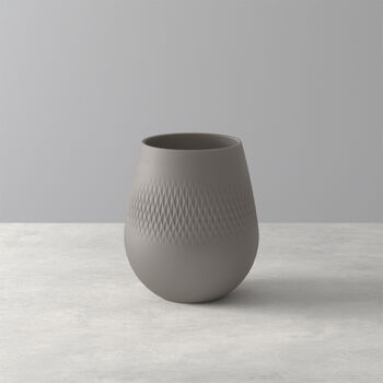 Manufacture Collier vase, 12 x 15 cm, Carré, Taupe