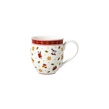 Toy's Delight coffee mug with scattered pattern