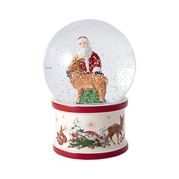 Christmas Toys large snow globe Santa and stag, 13 x 13 x 17 cm