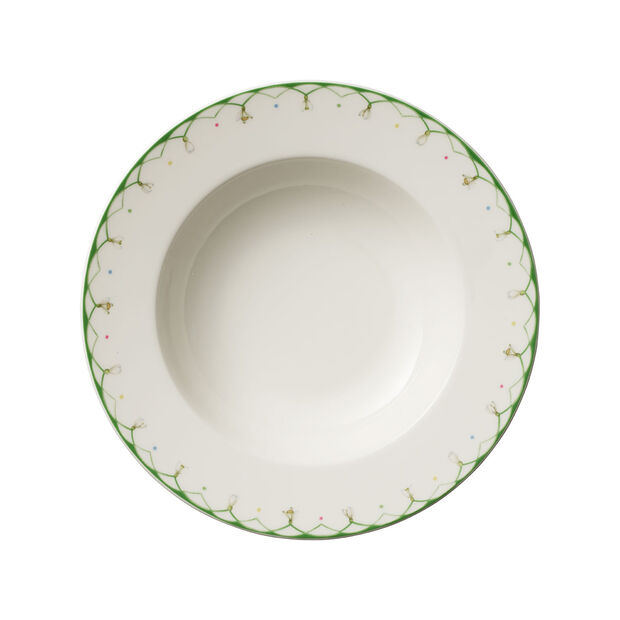 Colourful Spring deep plate, 25 cm, 456 ml, white/green, , large
