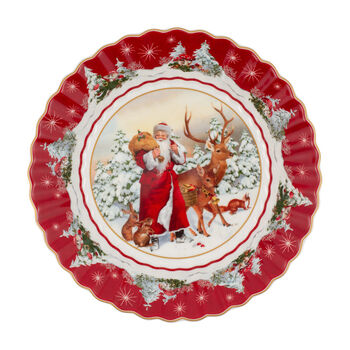 Toy's Fantasy large bowl Santa with forest animals, multicoloured/red/white, 25 x 25 x 5 cm